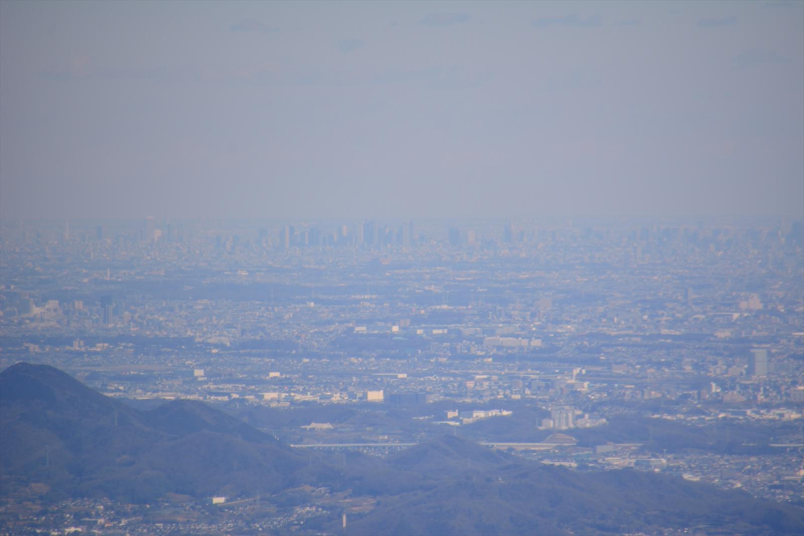 箱根駒ヶ岳山頂から見た池袋、新宿