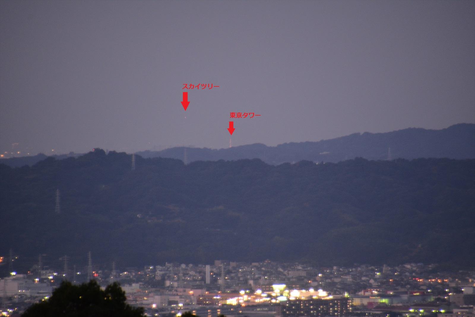 石垣山一夜城から見たスカイツリーと東京タワーの夜景